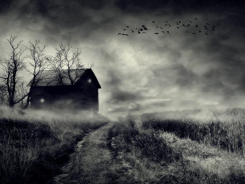 """Photo credit:  """"Dark House,"""" by Justine (1985)  From http://pixgood.com/dark-house.html"""